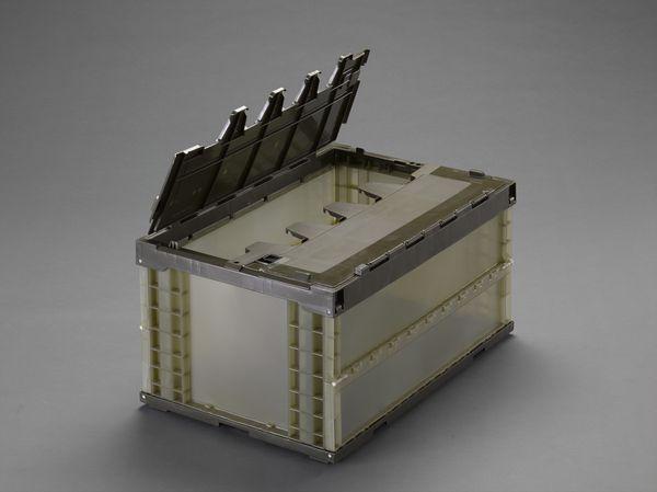 【メーカー在庫あり】 EA506AA-100E エスコ ESCO 649x439x340mm/73.9L折畳コンテナ(半透明・蓋/5コ