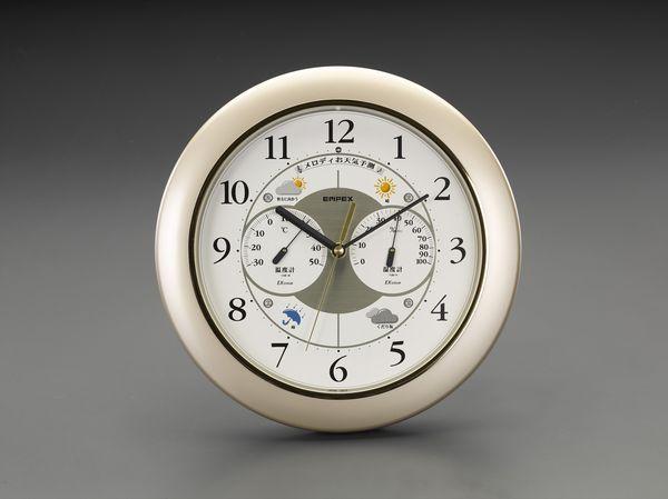 【メーカー在庫あり】 エスコ ESCO φ315mm 掛時計(温度・湿度計付) EA798CN-12 JP店