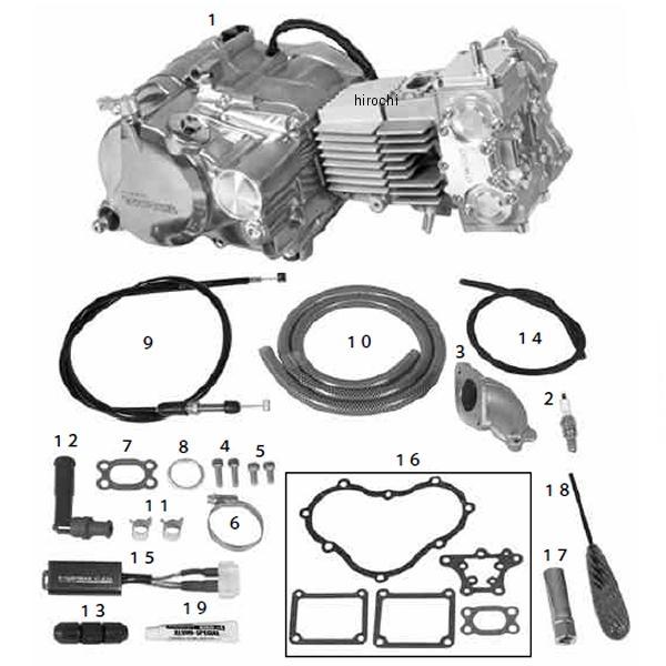SP武川 コンプリートエンジン DESMO 4V 124cc/SS5速/25-20カム モンキー/ゴリラ 01-00-9440 JP店