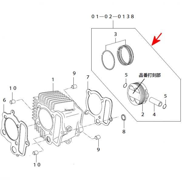 SP武川 ピストンキット DOHC 4V 100cc 57 モンキー/ゴリラ 01-02-0138 JP店