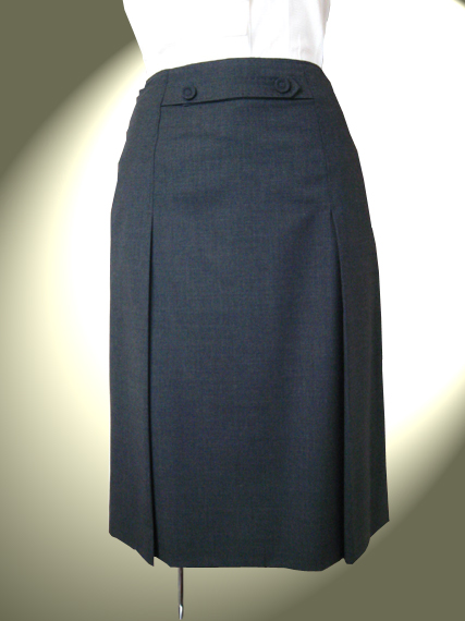 ハンドステッチ入 薄手ウール サイドプリーツスカート  7号 謝恩価格品 お受験 スカート グレー
