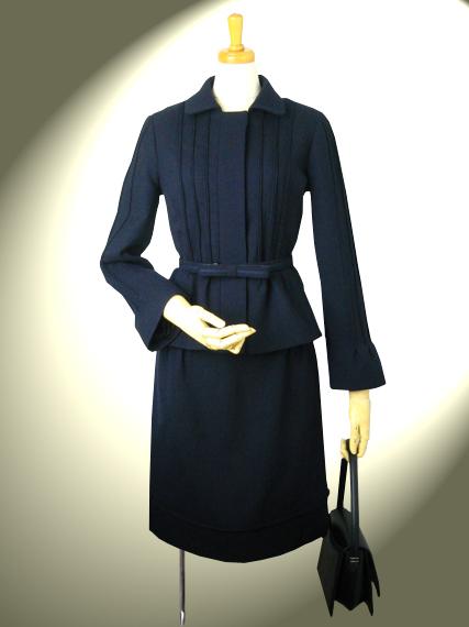 高品質 完全日本製 ダブルウール ダブルピンタック スカート・スーツ【カラー:紺】謝恩価格品 入学式卒業式 セレモニー ウール100% ミセス