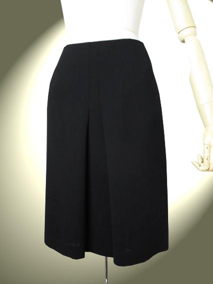 高品質 完全日本製 二重織 強撚 新ダブルウールソフトトラペーズ スカート【ロイヤルメードカラー黒】ブラック フォーマル ウール100%