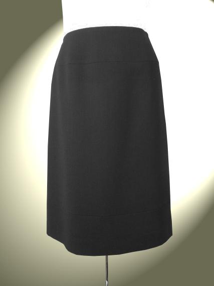 高品質 完全日本製 二重織 新ダブルウール裾切り替えトラペーズ スカート【ロイヤルメードカラー黒】ブラックフォーマル ミセス