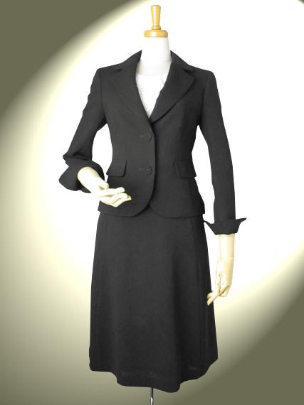 高品質 完全日本製 新ダブルウール 2つボタン テーラードジャケット 3枚パネル フレアースカート スーツ【ロイヤルメード カラー 黒】ブラックフォーマル ウール100%