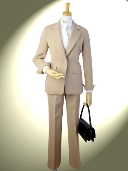 ダブルジョーゼット ロング・テーラードジャケットとエレガントパンツのスーツ【ロイヤルメード  カラー:ベージュ】ミセス 入学式 ビジネス パンツスーツ