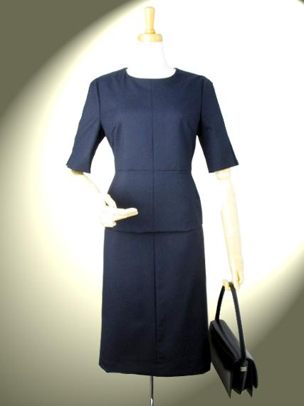 高品質 完全日本製 薄手ウール ノーカラーブラウス スカートスーツ ロイヤルメード 紺 お受験 セットアップ お受験 スーツ 謝恩価格品 ビジネス