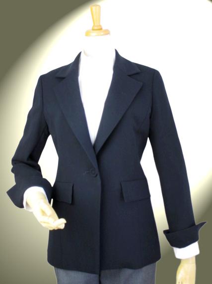 高品質 完全日本製 二重織 新ダブルウール ロング テーラードジャケット 【ロイヤルメード  カラー 紺】お受験 面接 入学式 卒業式 ミセス ビジネス