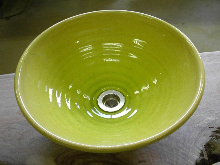 真山窯 陶芸手洗い鉢 イエローガラス 31cm 中