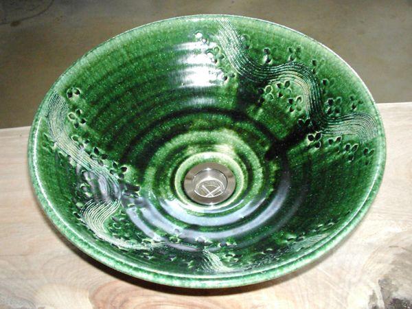 真山窯 陶芸手洗い鉢 織部彫刻 31cm 中