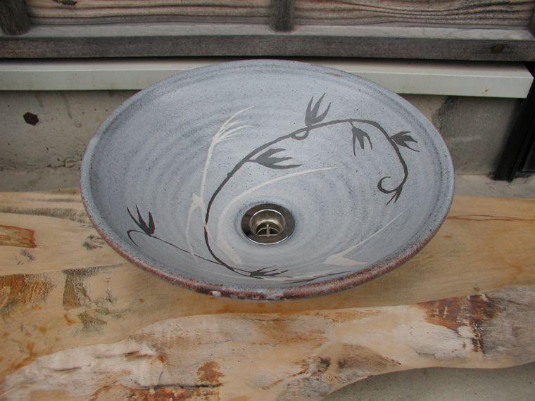 真山窯 陶芸手洗い鉢 鼠志野 31cm 中
