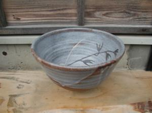 真山窯 陶芸手洗い鉢 鼠志野 24cm 小