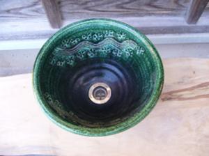 真山窯 陶芸手洗い鉢 織部彫刻 24cm 小
