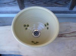 真山窯 陶芸手洗い鉢 黄瀬戸点紋 31cm 中