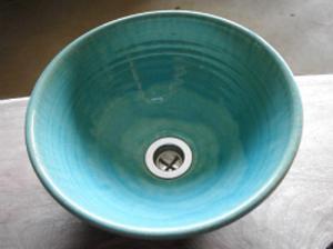真山窯 陶芸手洗い鉢 ブルーガラス 24cm 小
