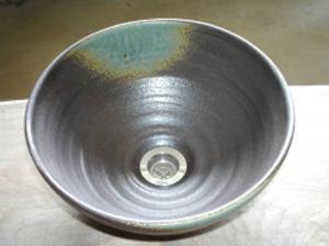 真山窯 陶芸手洗い鉢 灰釉 24cm 小