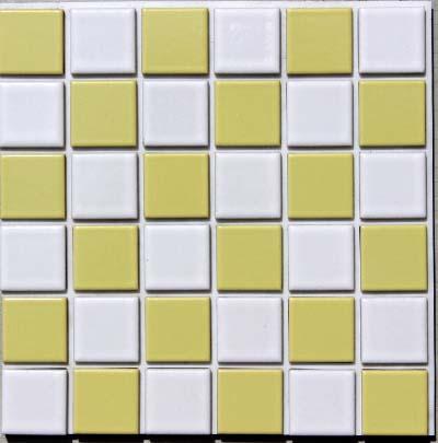 祝日 両面テープタイプで簡単に仕上り 接着剤も目地材も必要なし ハイカラー 23ミリ角 市松模様 セール価格 お手軽タイプ 白×黄