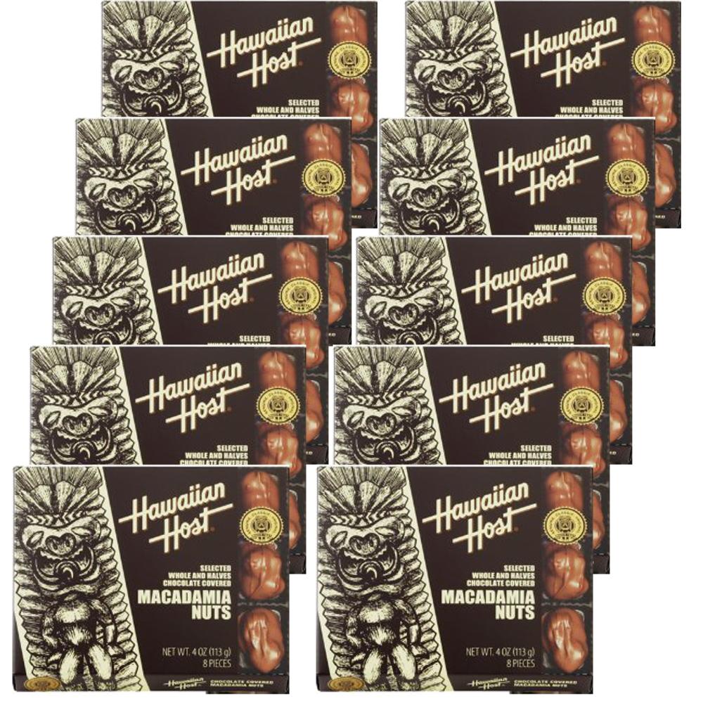 送料無料 ハワイ お土産 ハワイアンホスト マカダミアナッツ チョコレート 4oz 8粒 ×10箱セット HawaiianHost ハワイアンホースト マカデミアナッツ 海外 輸入菓子