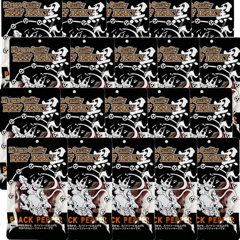 送料無料 黒胡椒 ビーフジャーキー 100g×20袋セット おつまみ 風神 雷神 国産 ヤガイ NipponQuality