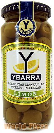 イバラ 瓶入りスタッフドオリーブ レモン