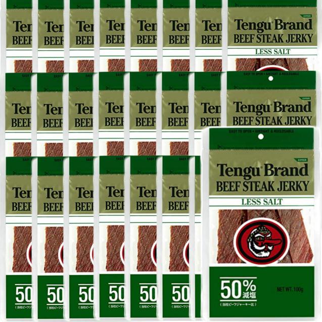 送料無料 テング ビーフジャーキー 減塩 50% 100g×24袋 おつまみ 天狗 業務用 大容量