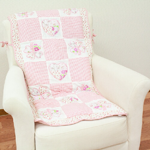 Seasonal Wrap入荷 ふわふわでキュート ハートキルト椅子カバー 約145x50cm 紐付き かわいい ソファー いす お値打ち価格で チェアカバー おしゃれ 椅子 ピンク イス