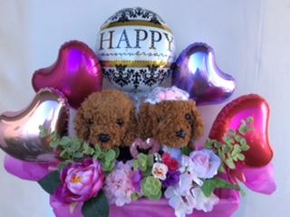 バルーンギフト ウエディングドール 犬 送料無料/電報 結婚式/ぬいぐるみ電報/結婚式 祝電,風船,ウェディング,誕生日,いぬ ぬいぐるみ,入学祝,発表会,開店祝い,誕生日,かわいい祝電,人目を惹く祝電,メッセージドール(1092)140