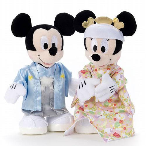 【送料無料】【ぬいぐるみディズニー】ウェディングドールブライダルミッキー&ミニー和装M