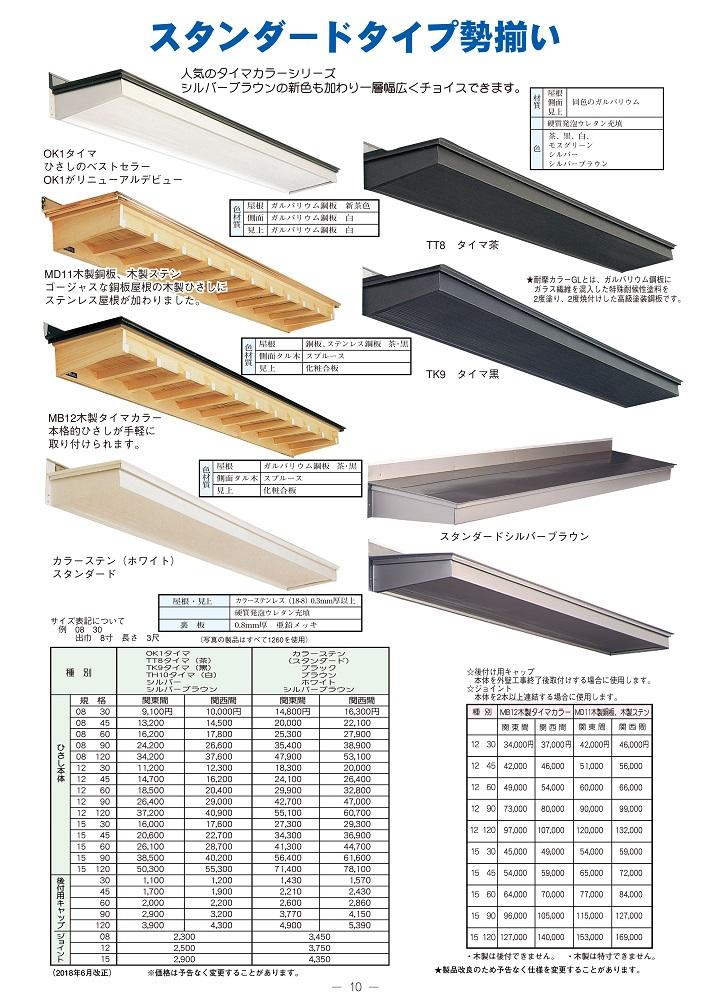 良質  ひさし ステンレス スタンダード庇 12120 出巾12寸長さ12尺(3770mm)後付用キャップ付:ひさしの総合メーカー-木材・建築資材・設備