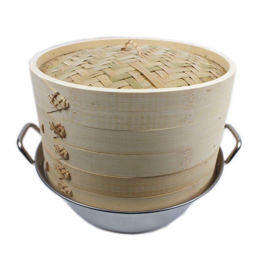 IH対応 鍋つき蒸篭(セイロ) 2段(本体2個蓋1個)セット 業務用 せいろ蒸し器 (竹セイロ27cm)