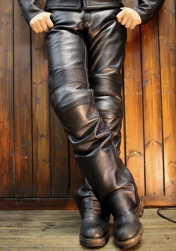 KADOYA(カドヤ)k'S leather TCS-PANTS 2 膝カップ付き ブーツアウト レザーパンツ 革パンツ ビッグサイズ 3L