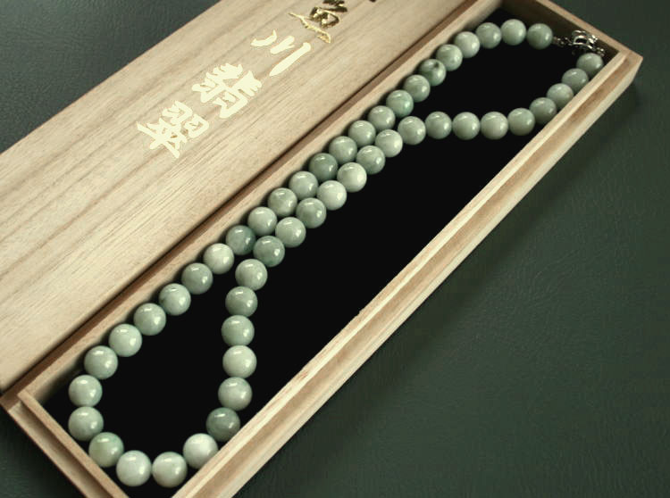 糸魚川翡翠ネックレス NE0014浅葱加工販売 制作10mm*50個