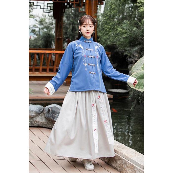 2020 トレンドカラー ハンフー クラシックブルー 漢服 2020モデル 長袖 ツーピース マキシ丈 在庫処分