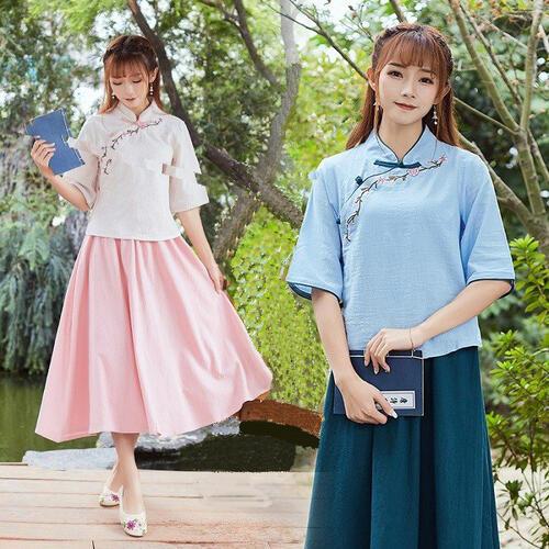 清楚で爽やかな学生服基調のハンフー 漢服 限定特価 ハンフー 上下2点セット レディース 学生服風 奉呈