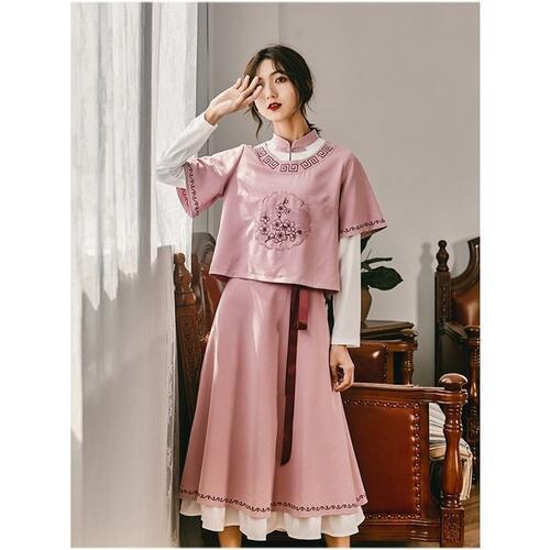 正規品送料無料 今 流行りのハンフー ハンフー モダン ドレス 袖二段 ミモレ丈 2ピース 桜色 待望