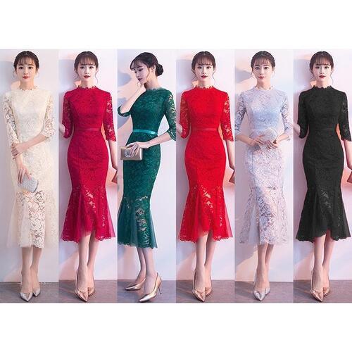 身体の曲線を美しく描き出す マーメイドスカート ワンピース 専門店 総レース 安い 激安 プチプラ 高品質 ドレス ミドル丈