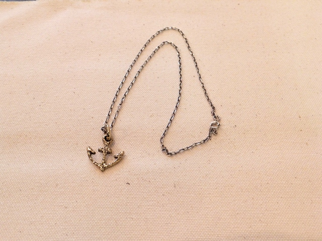 Antique brass anchor necklace