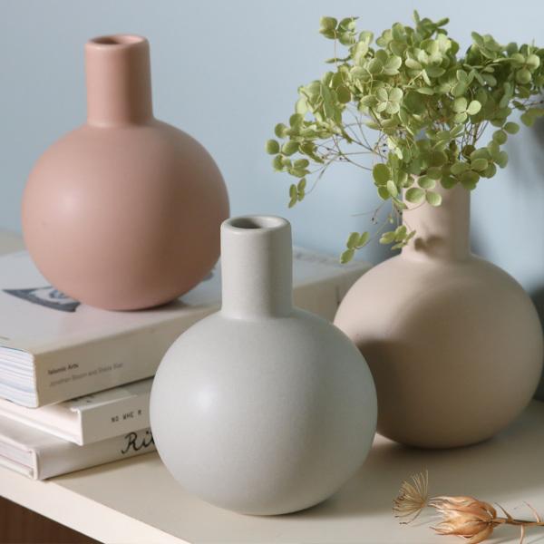 丸いフォルムにマットな質感 くすみカラーの花瓶で花を楽しむ 花瓶 陶器 直径10.5cm×高さ13cm ロング 全店販売中 数量は多 ASH フラワーベース