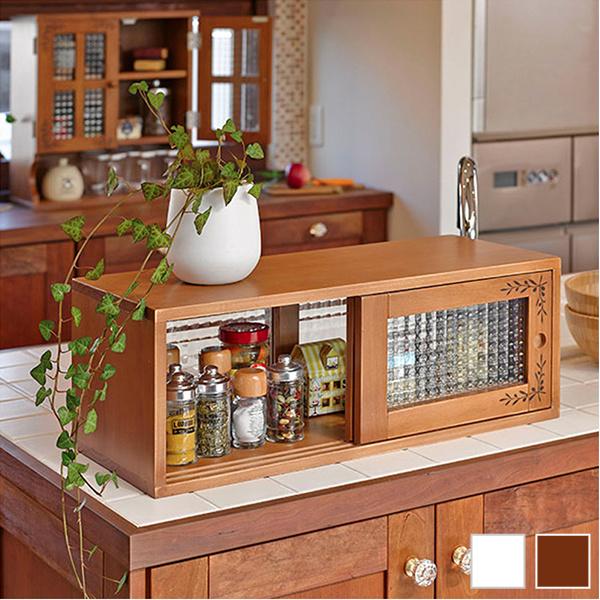 カウンター上収納でキッチンも食卓もすっきり カウンター上 食器棚 オリジナル 直送商品 調味料ラック 扉付き カウンター上収納 幅90cm 木製 カウンターボックス