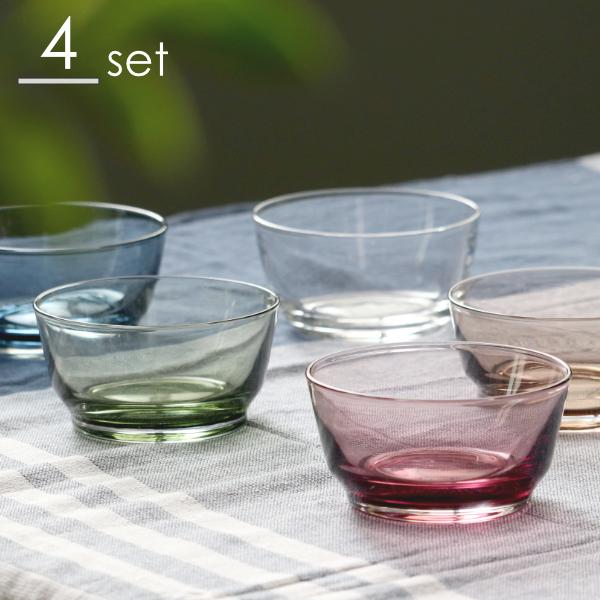 上質で安定感のある使い心地 ほどよい厚みのガラスボウル ガラス セット 新作販売 皿 透明 ボウル 10cm HIBI キントー 食器 低価格 KINTO 小鉢 同色4個セット