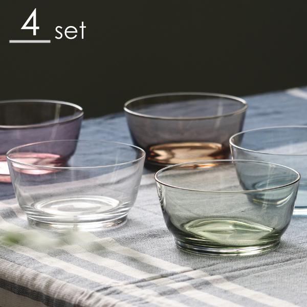 永遠の定番モデル 上質で安定感のある使い心地 ほどよい厚みのガラスボウル 皿 セール価格 セット ガラス 透明 ボウル 同色4個セット 食器 中鉢 KINTO 13cm HIBI キントー