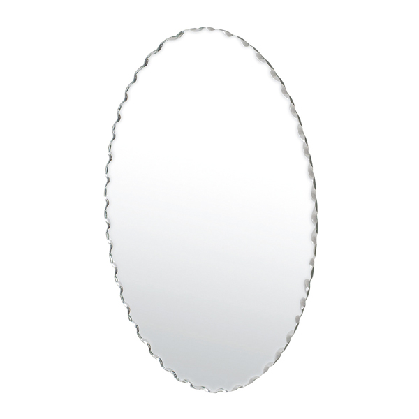 ノンフレームでスタイリッシュ シンプルな壁掛けミラー ウォールミラー 楕円形 ノンフレーム 鏡 新色 超激安特価 ウェーブカット 壁掛け 高さ60cm