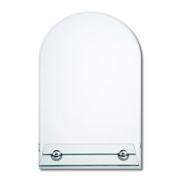 ノンフレームでスタイリッシュ シンプルな壁掛けミラー ウォールミラー ガラス棚付 高さ70cm お金を節約 誕生日プレゼント 鏡 壁掛け ノンフレーム