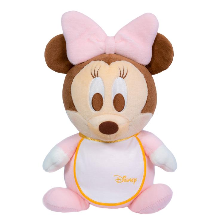ベビーミニーマウスのスタイ付きウェイトドール(1体)両足裏刺繍入り【ウェルカムドール 体重ドール ディズニー Disney】【親ギフト 出産祝い 結婚式 披露宴 誕生日プレゼント】