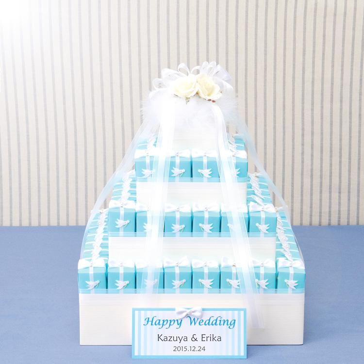 幸せを運ぶ白い鳥とサムシングブルーボックスハートパイのプチギフト60個セット【結婚式 ウェルカムボード ディスプレイ】