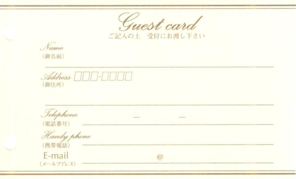 ゲストにメッセージを書いてもらえる住所管理カード カード式ゲストブック 追加リフィル カードB 10枚【あす楽対応】