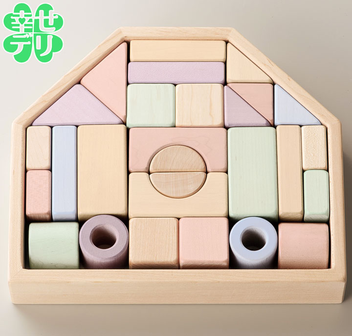 <エド・インター>やさしい木製の積み木「つみきのいえ」(対象年齢1歳6ヶ月以上)【知育玩具 出産祝い 子ども用 赤ちゃん用おもちゃ 誕生日プレゼント ギフト 日本を贈る】