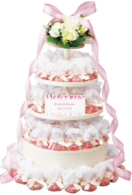 ウエディングケーキ型プチギフトのウエルカムボードエレガントな苺クッキー60個セット【結婚式 ディスプレイ オブジェ】