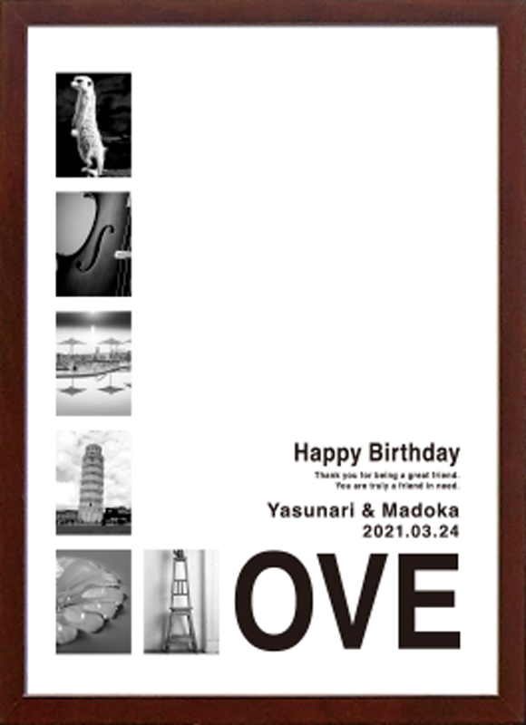 【お急ぎの方限定】お名前のアルファベットを写真で表現 A3サイズのフォトボード完成品「LOVE-2」(縦書き) 【結婚式 ウェルカムボード 結婚祝い 誕生日プレゼント 母の日 退職祝い 親ギフト】(HappyBirthday・Thank you・Congratulations・I Love you)