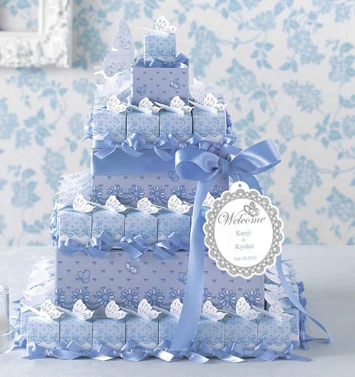 蝶々のサムシングブルーボックスレーシィーバタフライ・ハートクランチ60個セット【結婚式 ウェルカムオブジェ プチギフト】